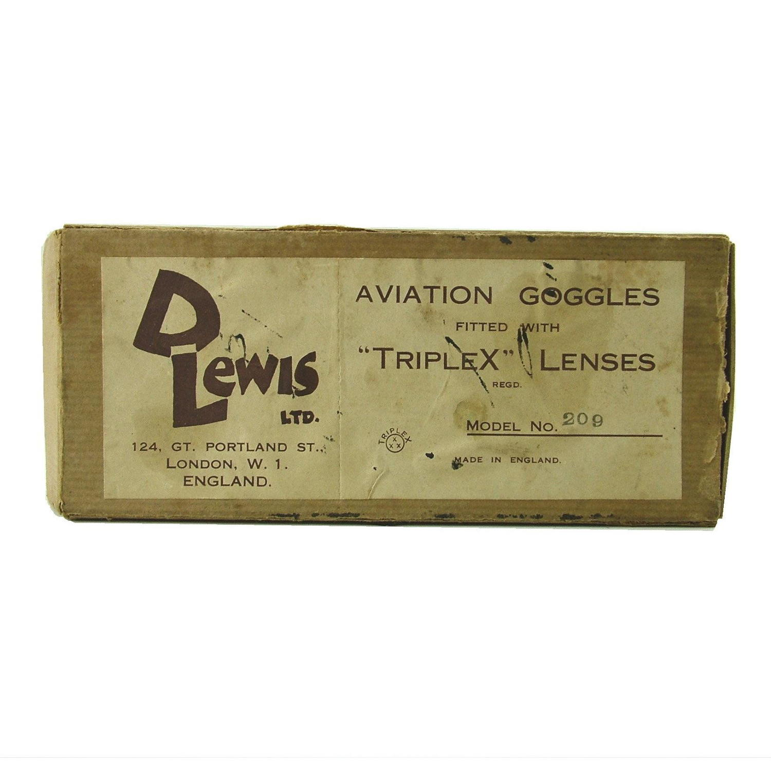 RAF used Lewis aviation goggles, boxed
