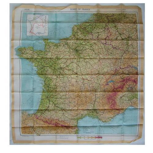 RAF escape & evasion map - Zones of France