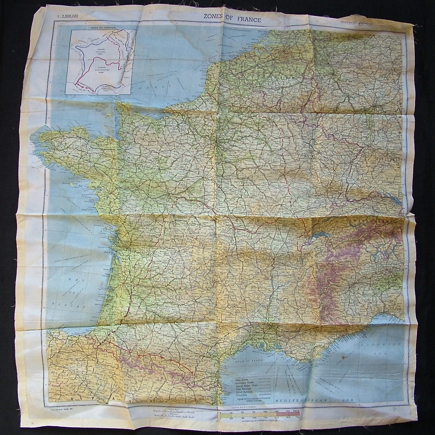 RAF escape & evasion map - Zones of France