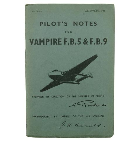 RAF pilot's notes - Vampire F.B.5 & F.B.9