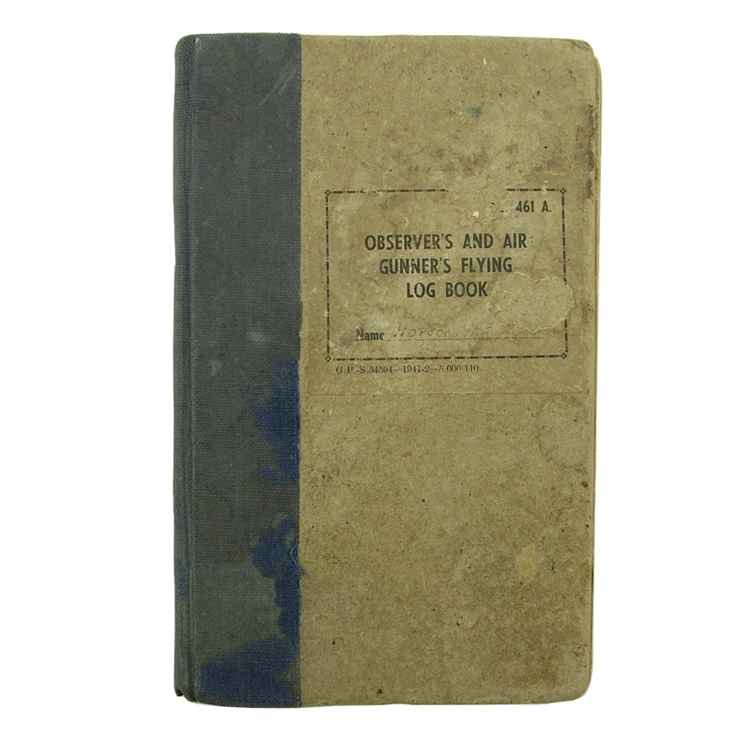 RAF air gunner's log book