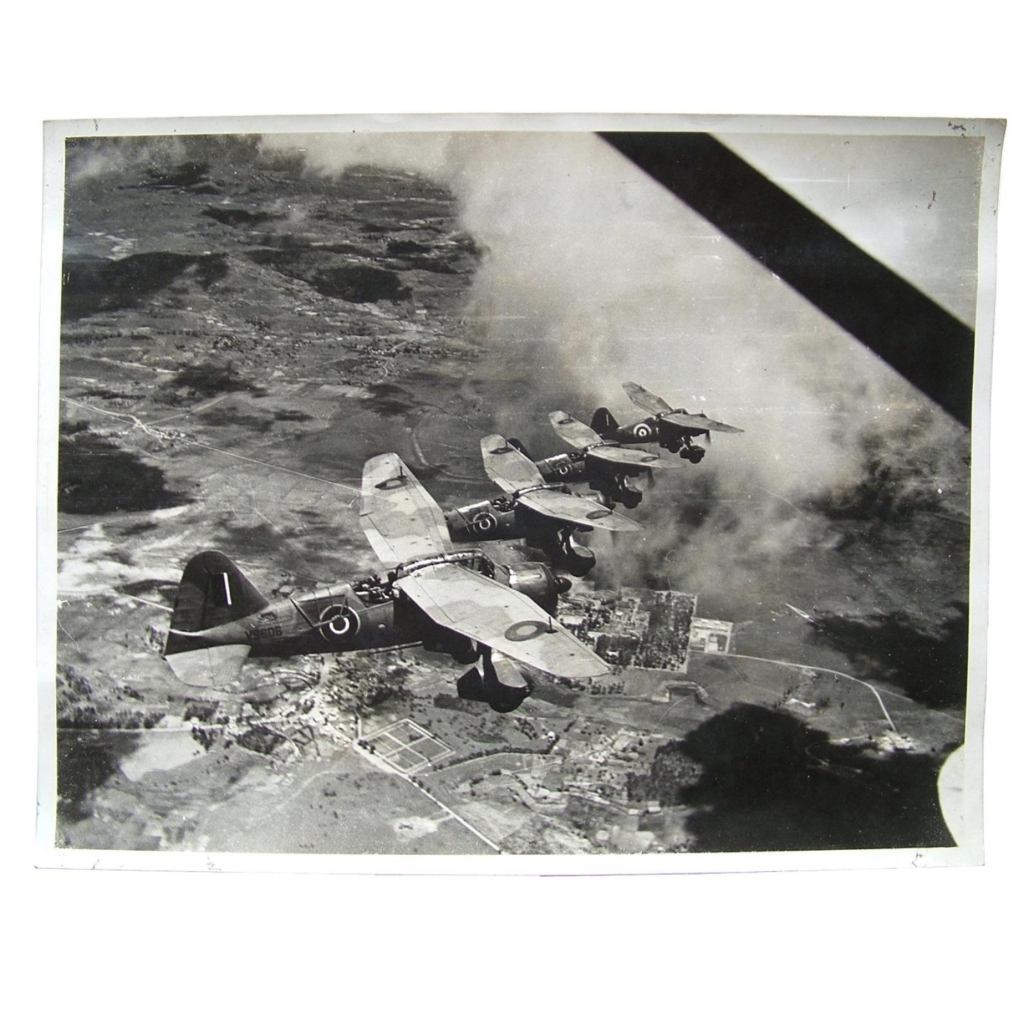 RAF press photo - Lysanders over Madagascar