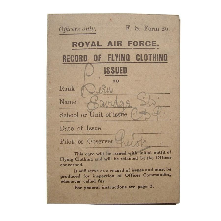 RAF flying clothing card c.1918