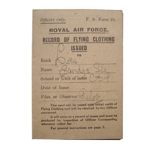 RAF flying clothing card c.1918