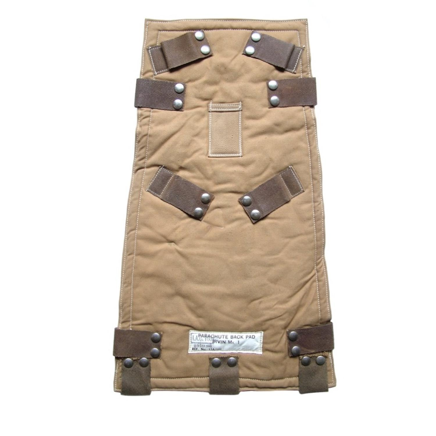 RAF parachute harness assembly backpad