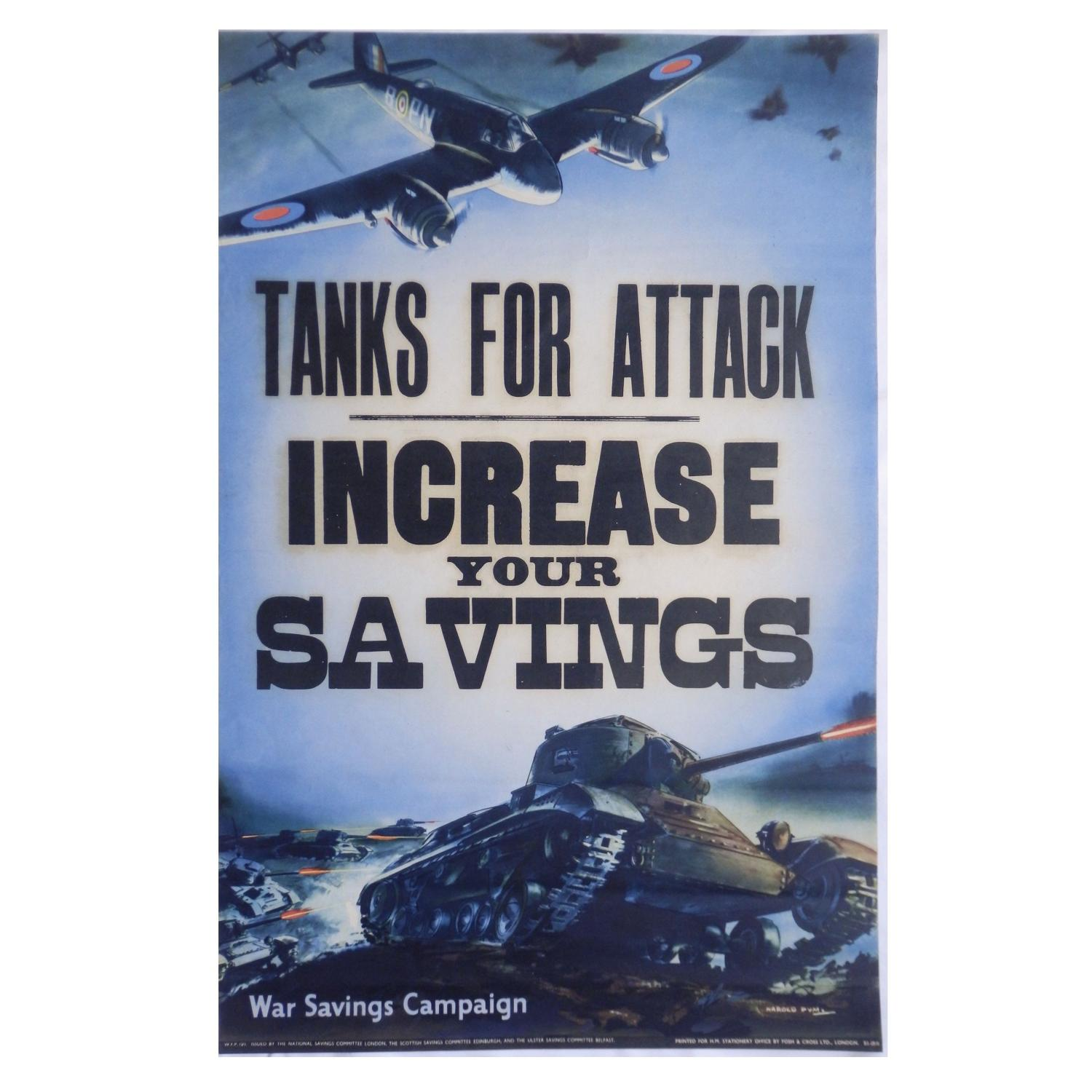 Tanks for Attack - War Savings Poster