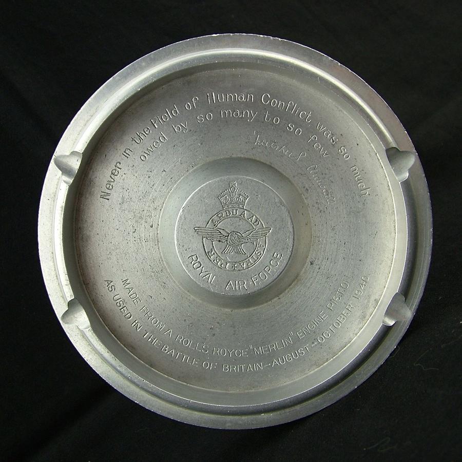 Battle of Britain 'Merlin' engine piston ash tray