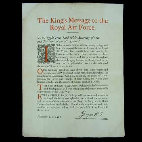 King's Armistice Day message to the RAF, 1918