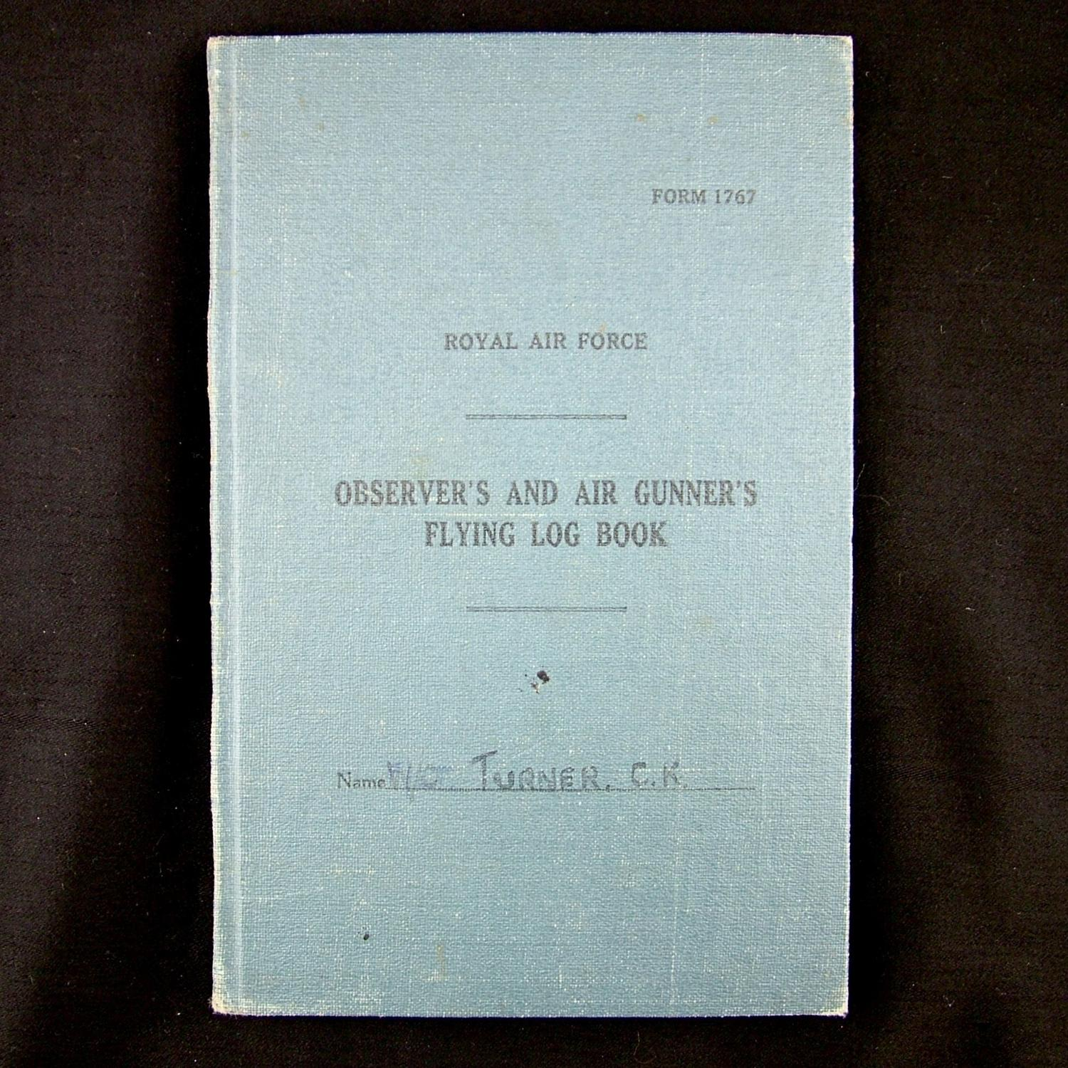 RAF wireless operator / air gunner's log book