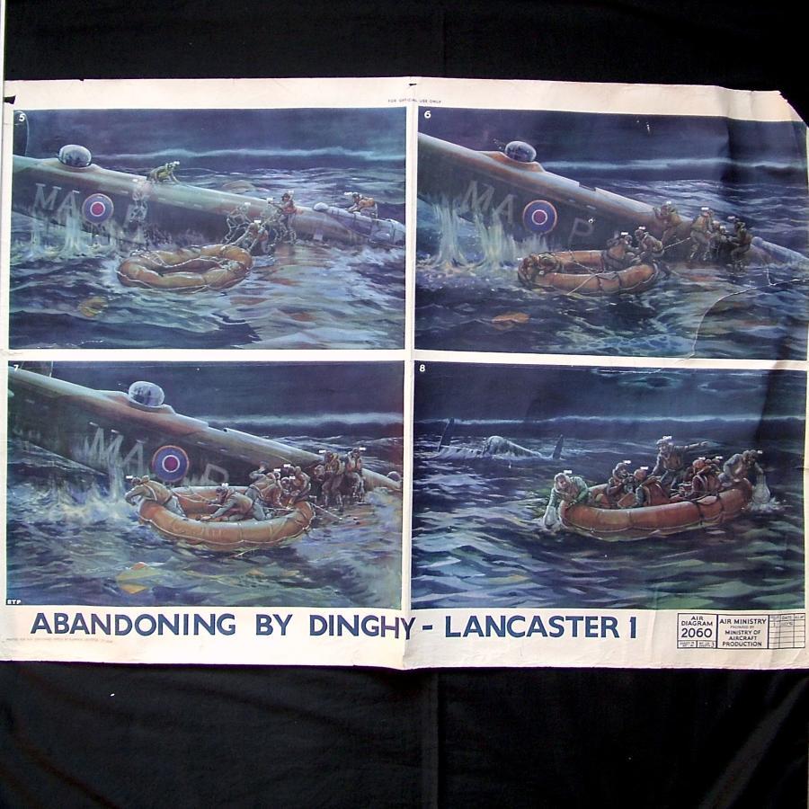 RAF poster - Lancaster I : abandoning by dinghy