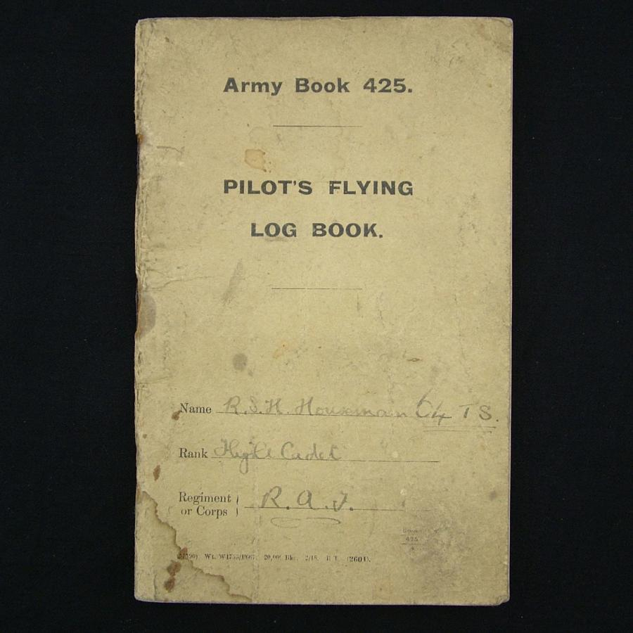RAF Pilot's flying log book, c.1918