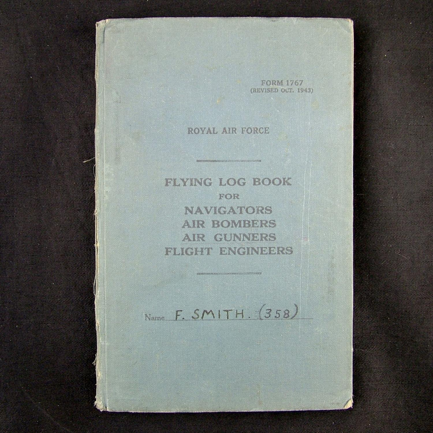 RAF air gunner's flying log book