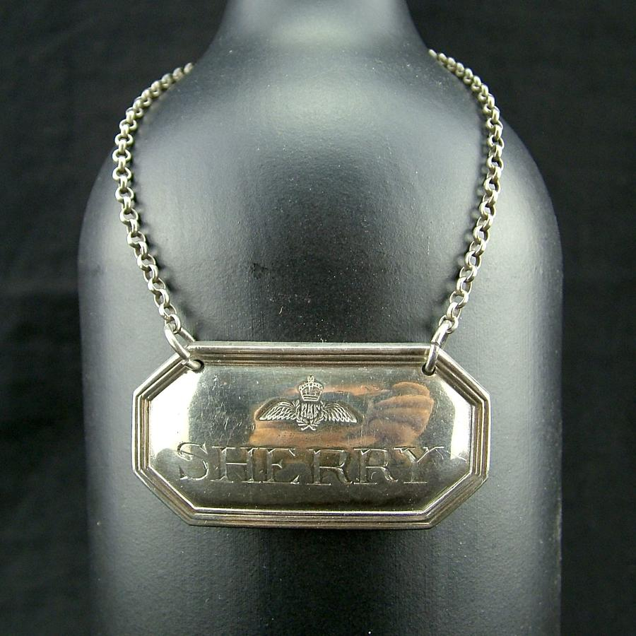 RAF station mess decanter Sherry label