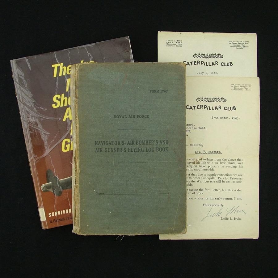 RAF airgunner log book, 640 Squadron, Caterpillar Club