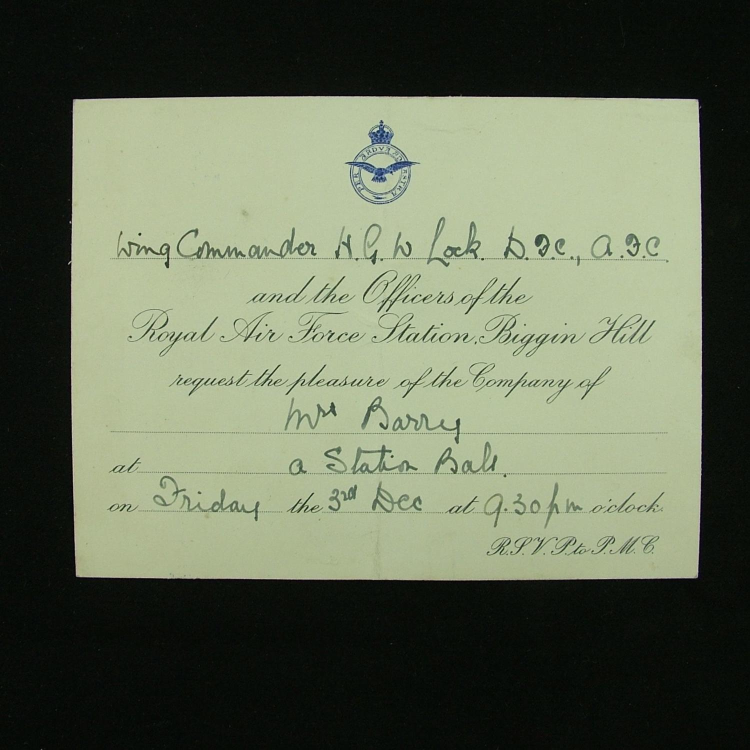 RAF Biggin Hill invitation c.1937
