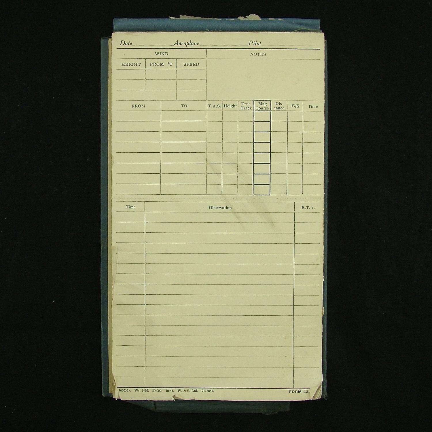 RAF flight notes pad c.1943