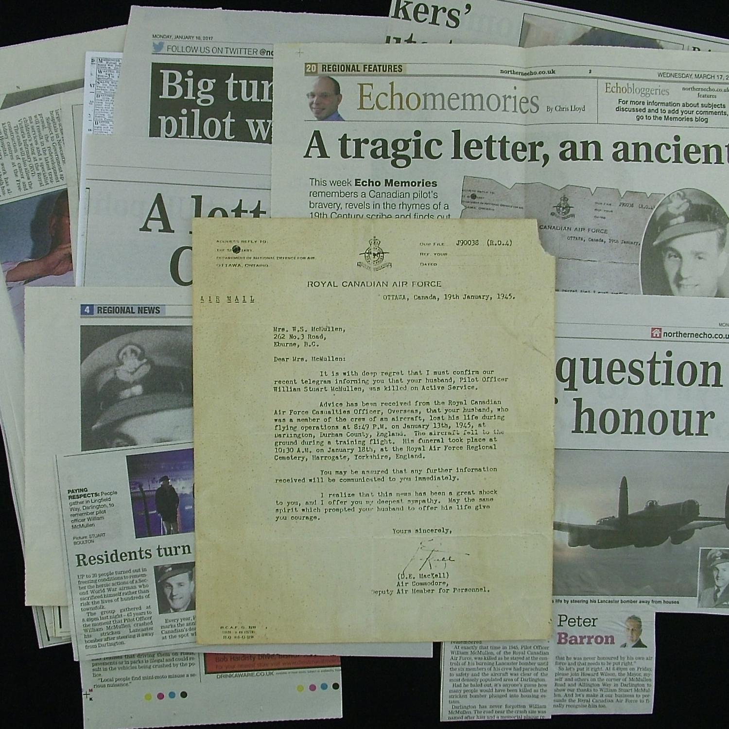 RCAF killed in action letter & clippings