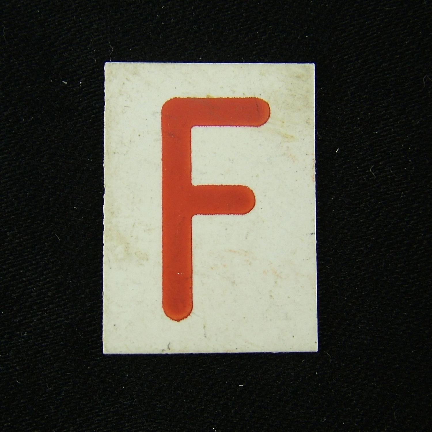 RAF operations room plotting tile 'F'