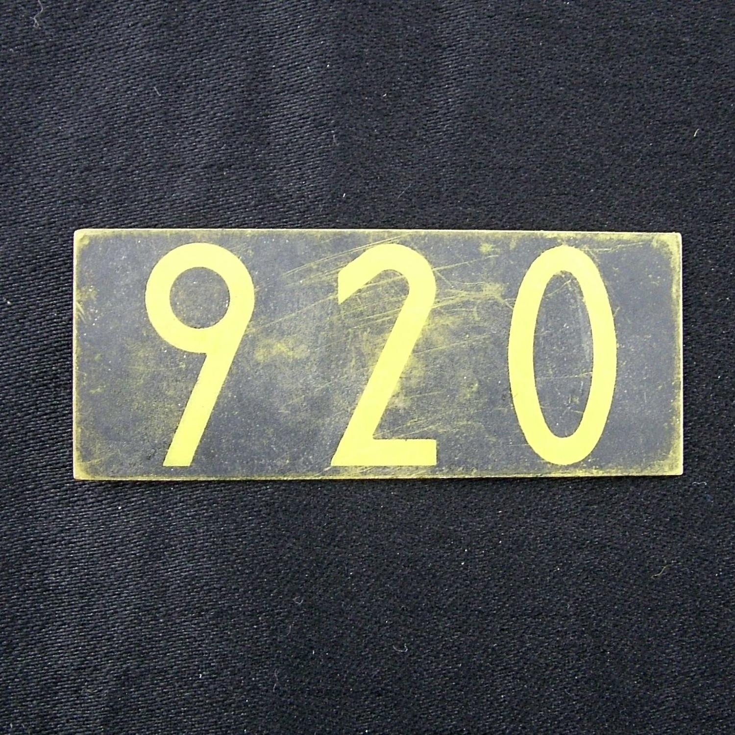RAF operations room plotting tile '920'
