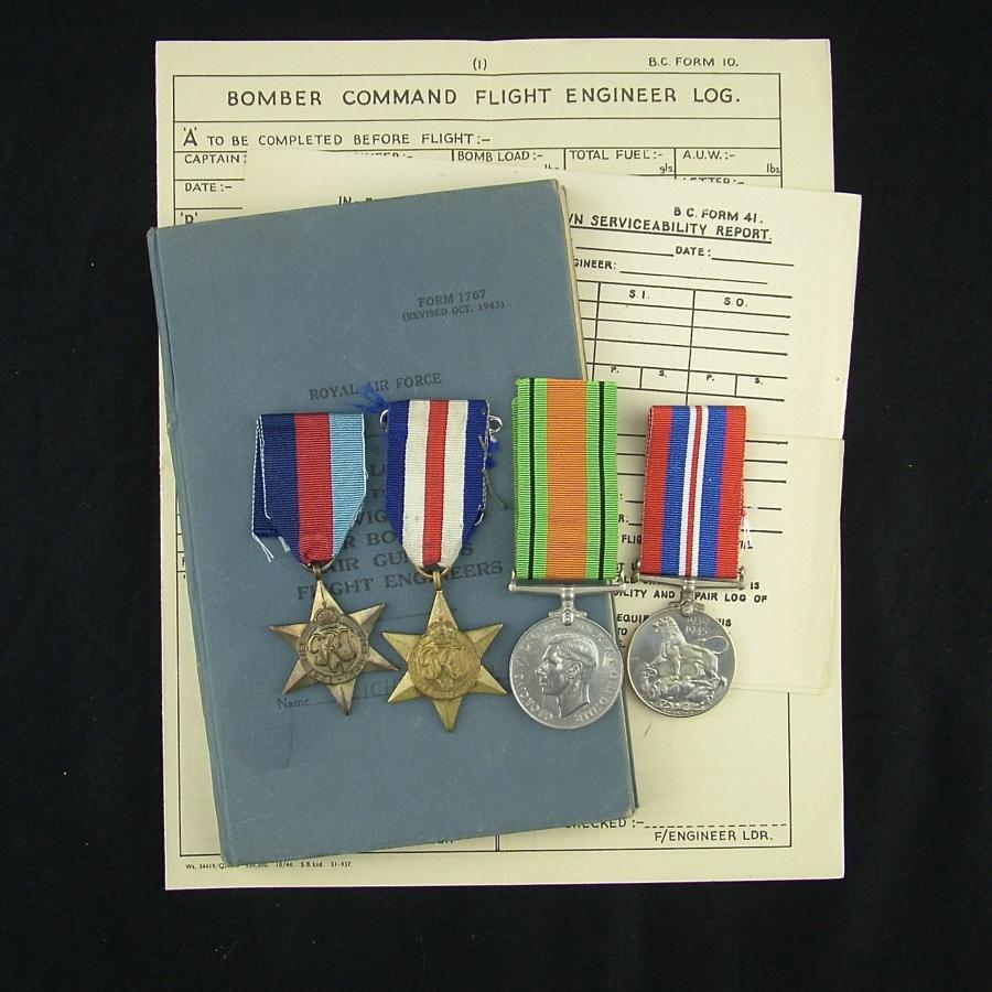 RAF flight engineer log book/medals, 426 squadron