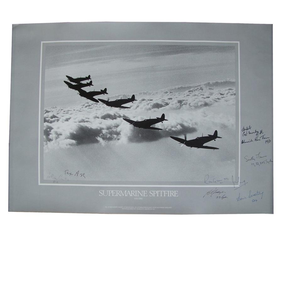 Spitfire 50th anniversary poster - aircrew signed