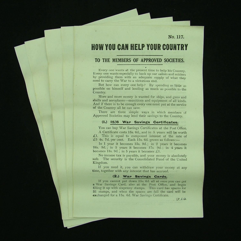 WW1 Home Front savings flier