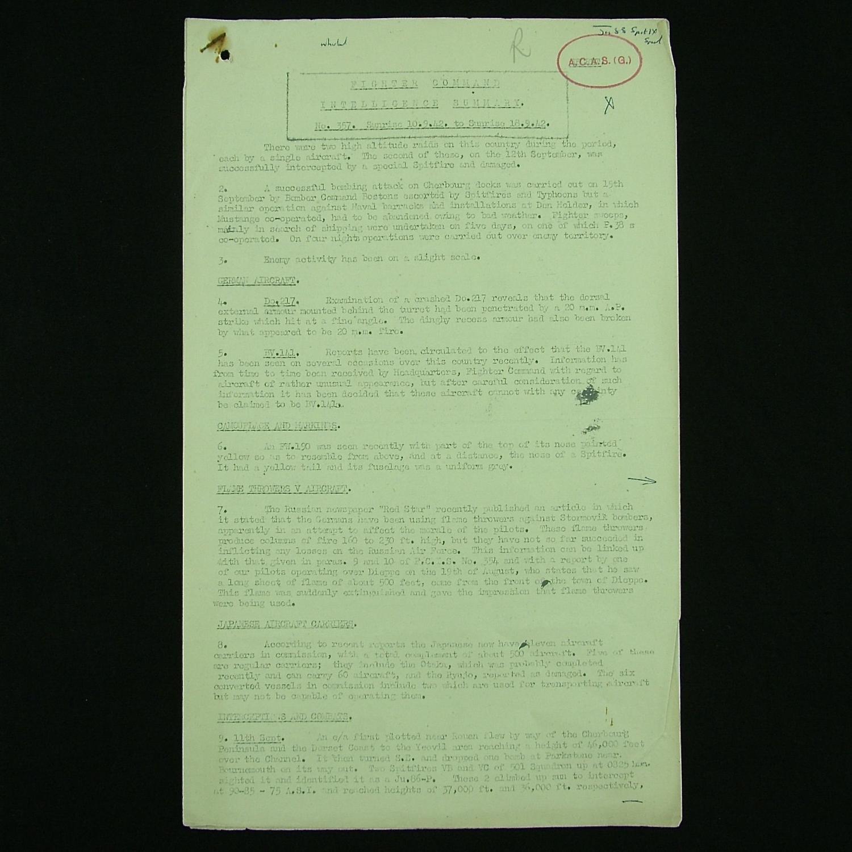 RAF Fighter Command Secret Intelligence Summary, c.1942