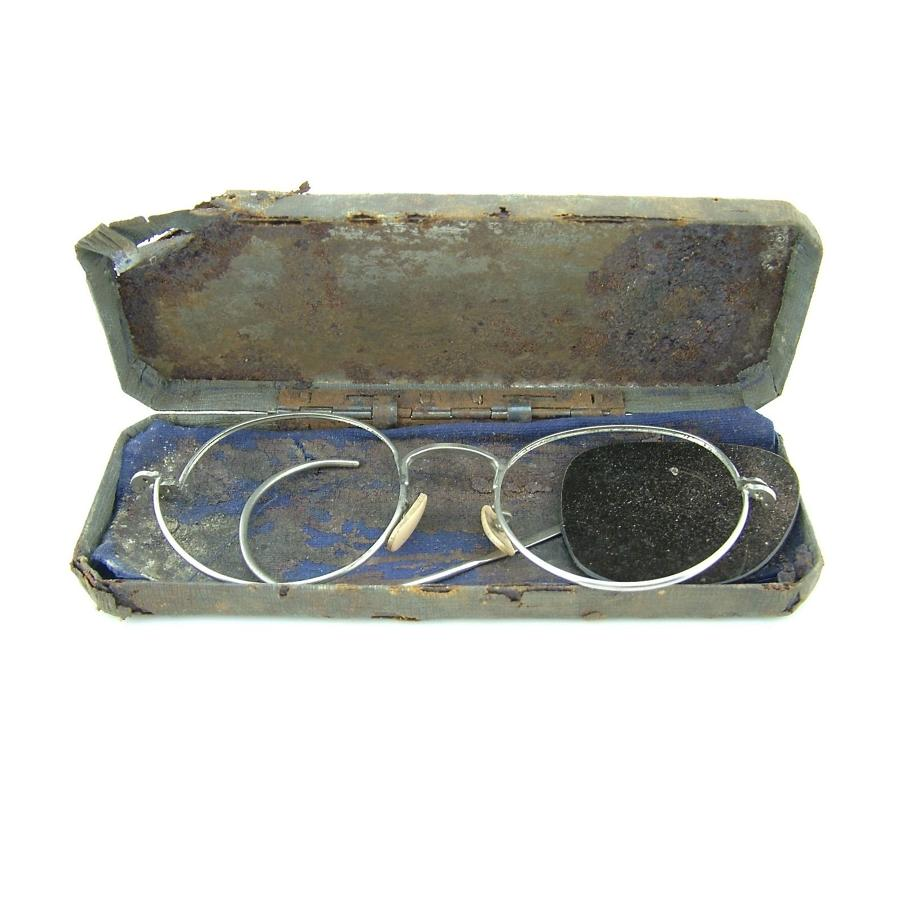 RAF Mk.VIII flying spectacles, cased - Tangmere relic