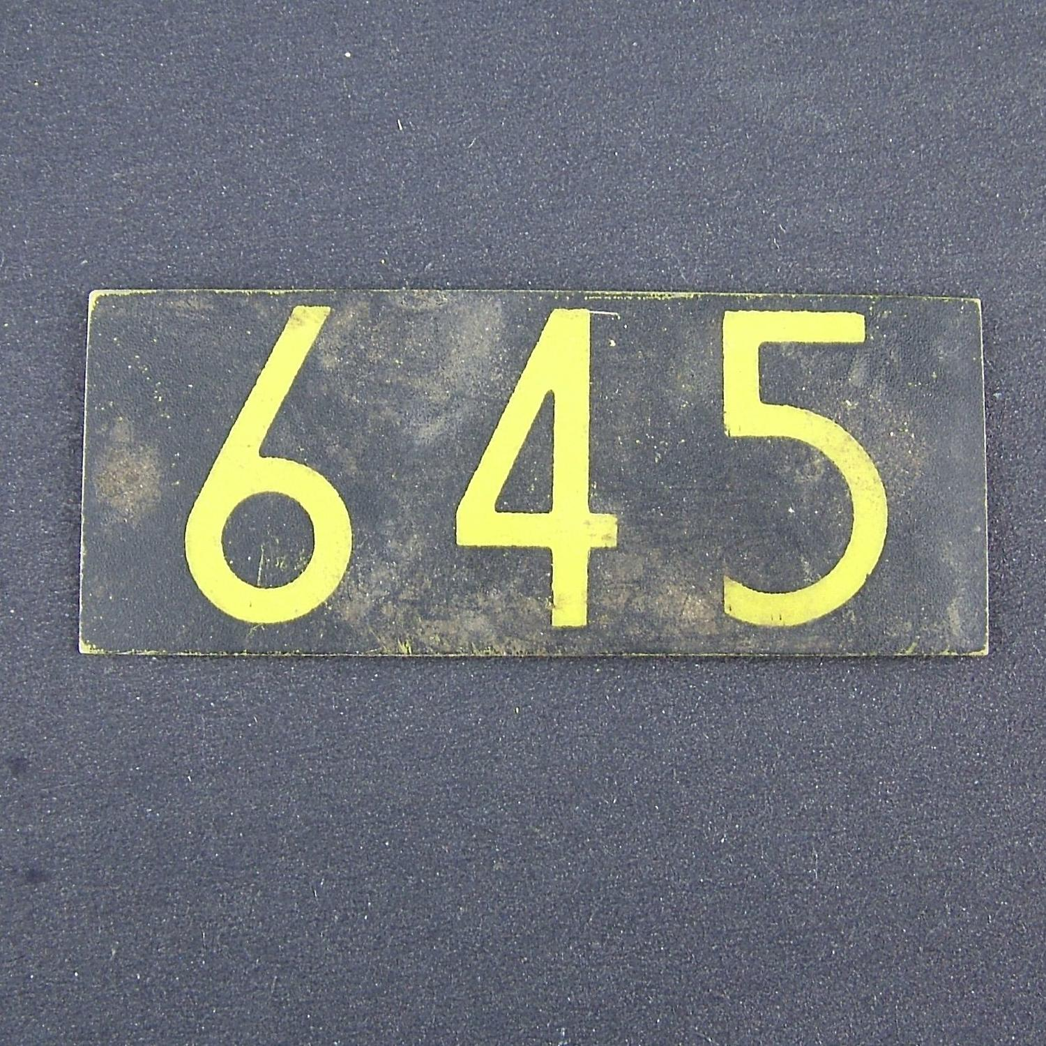 RAF operations room raid block plotting tile '645'