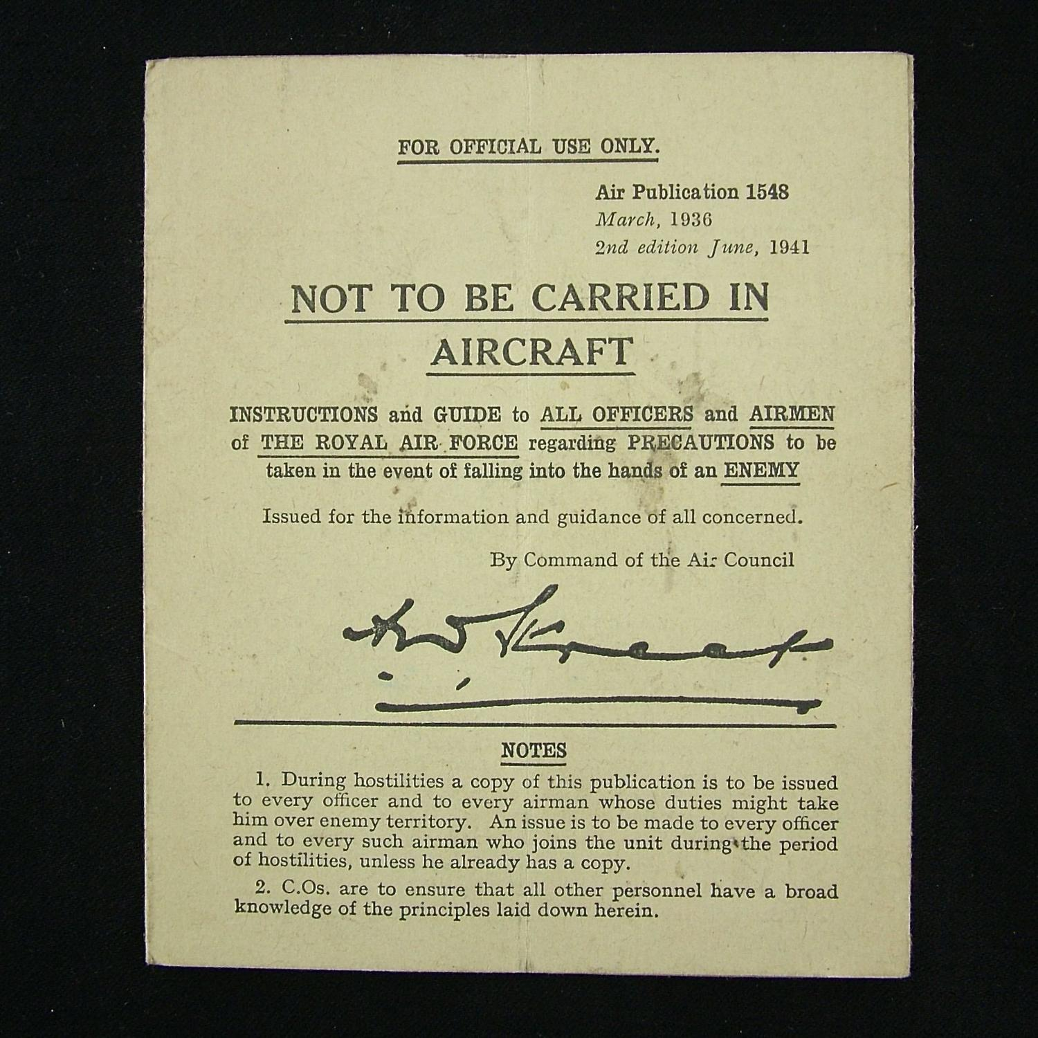 RAF instructions for airmen if captured