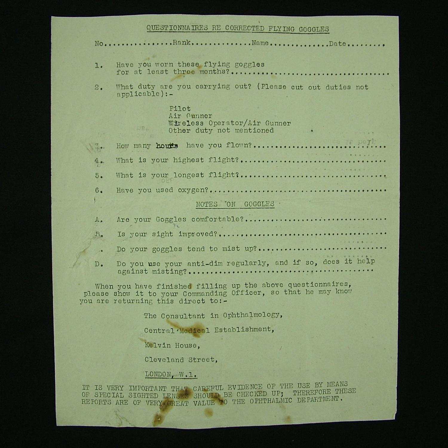 RAF document regarding flying goggles with corrective lenses