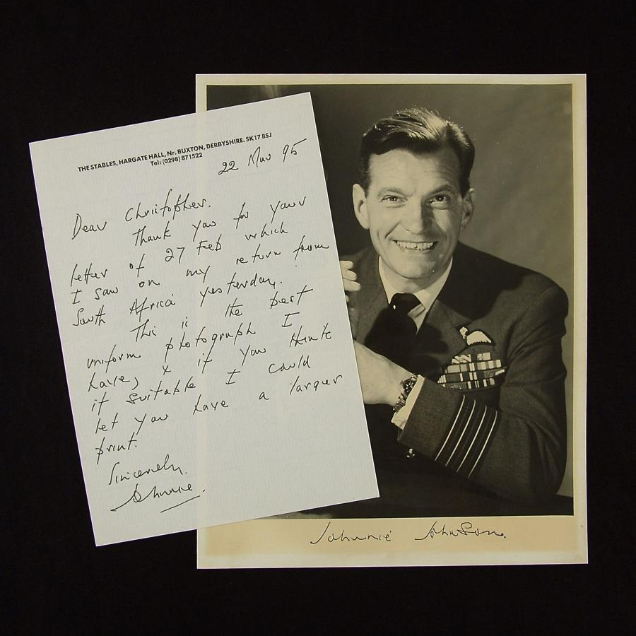 Group Captain Johnnie Johnson - signed photograph & letter