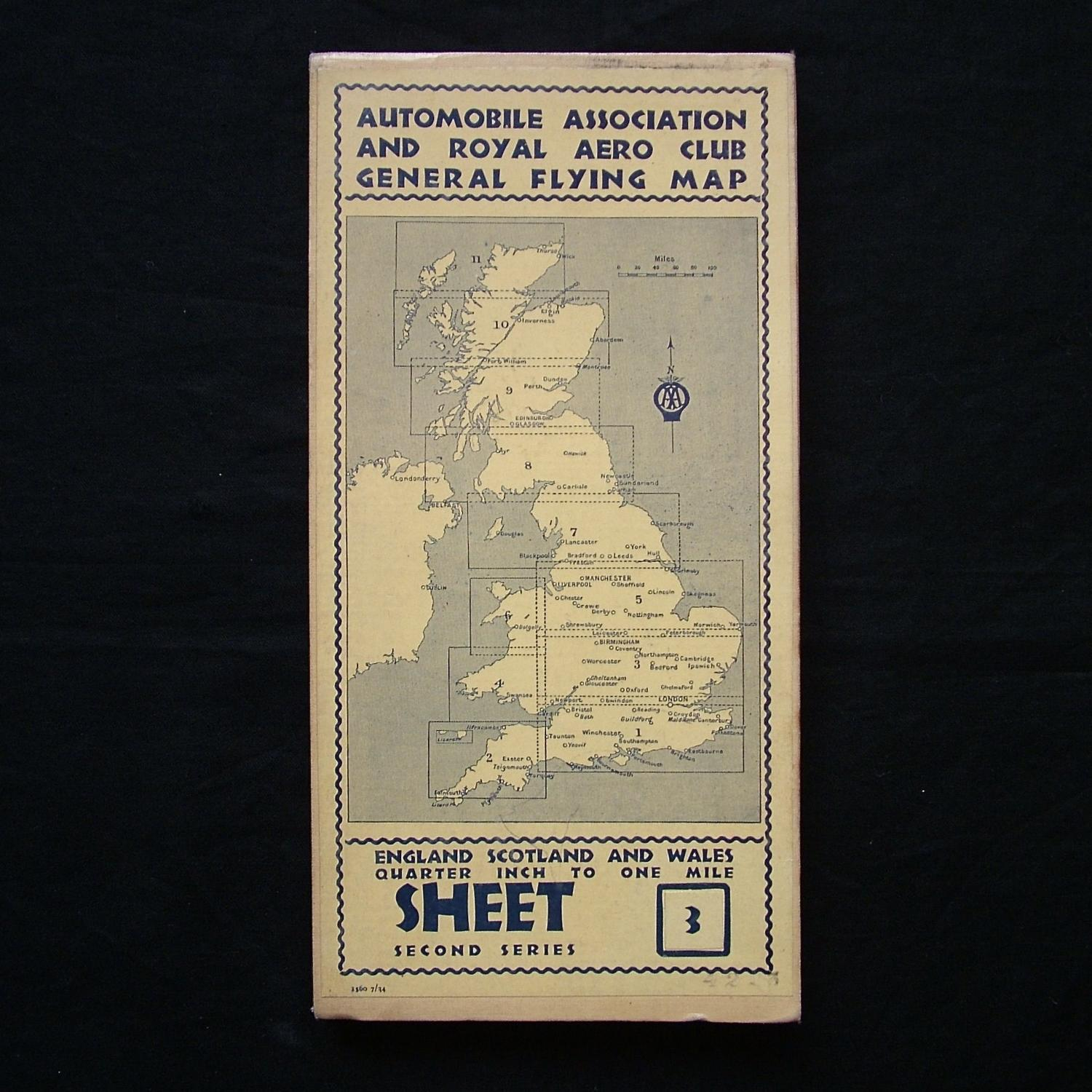 Pre WW2 AA & Royal Aero Club flying map, sheet 3