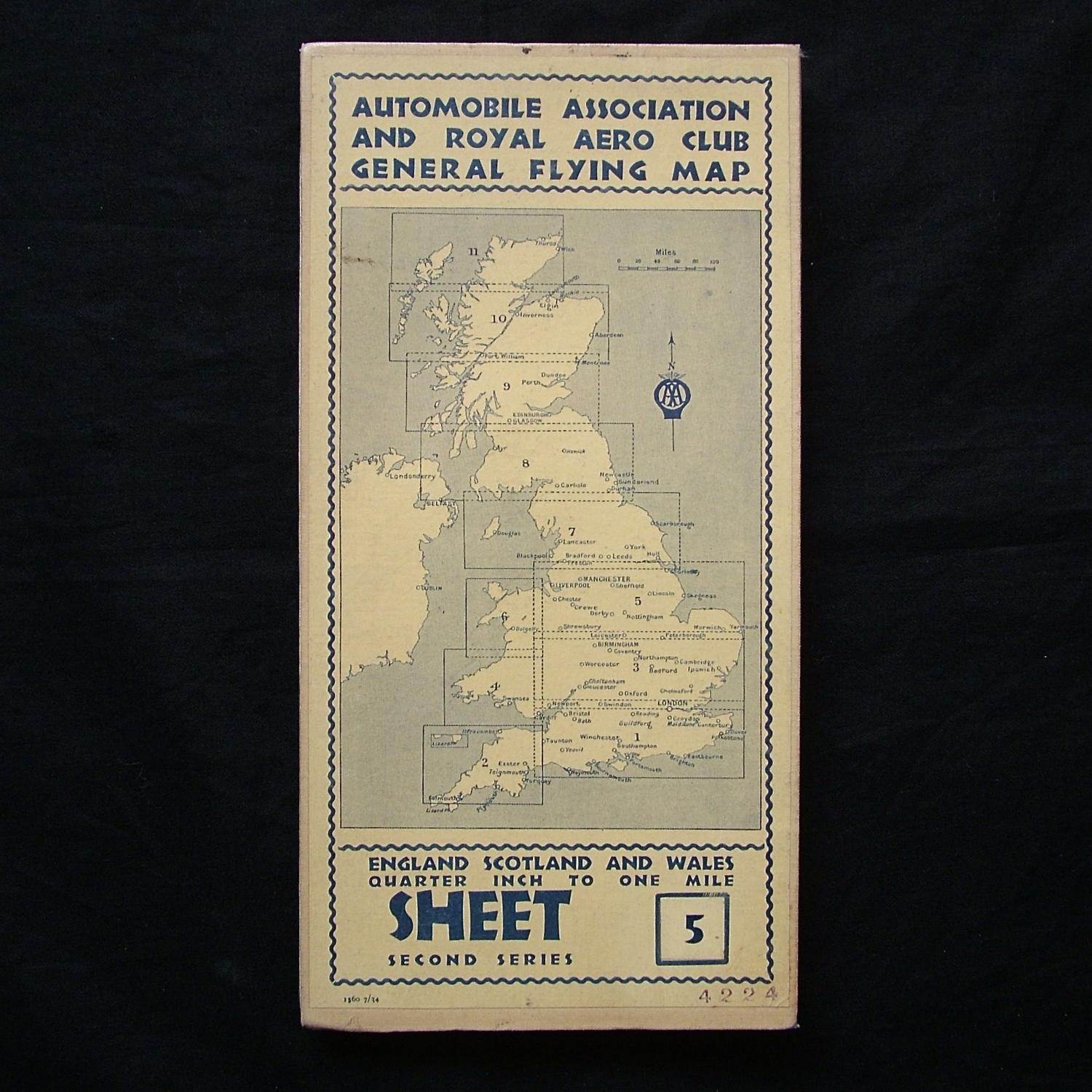 Pre WW2 AA & Royal Aero Club flying map - sheet 5