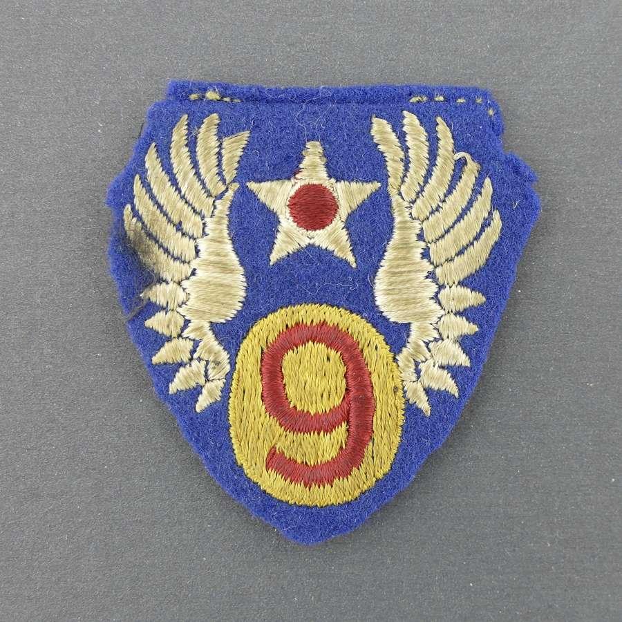 USAAF 9th AF shoulder patch - English made