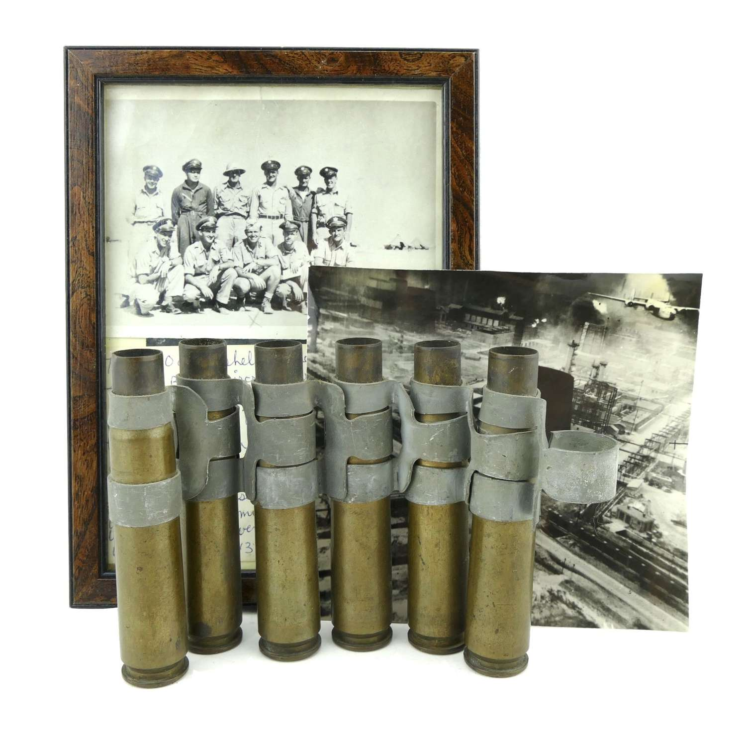 USAAF 9th AAF 93BG Ploesti raid shell cases/photo