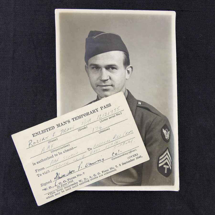 USAAF 8th AAF photograph and pass