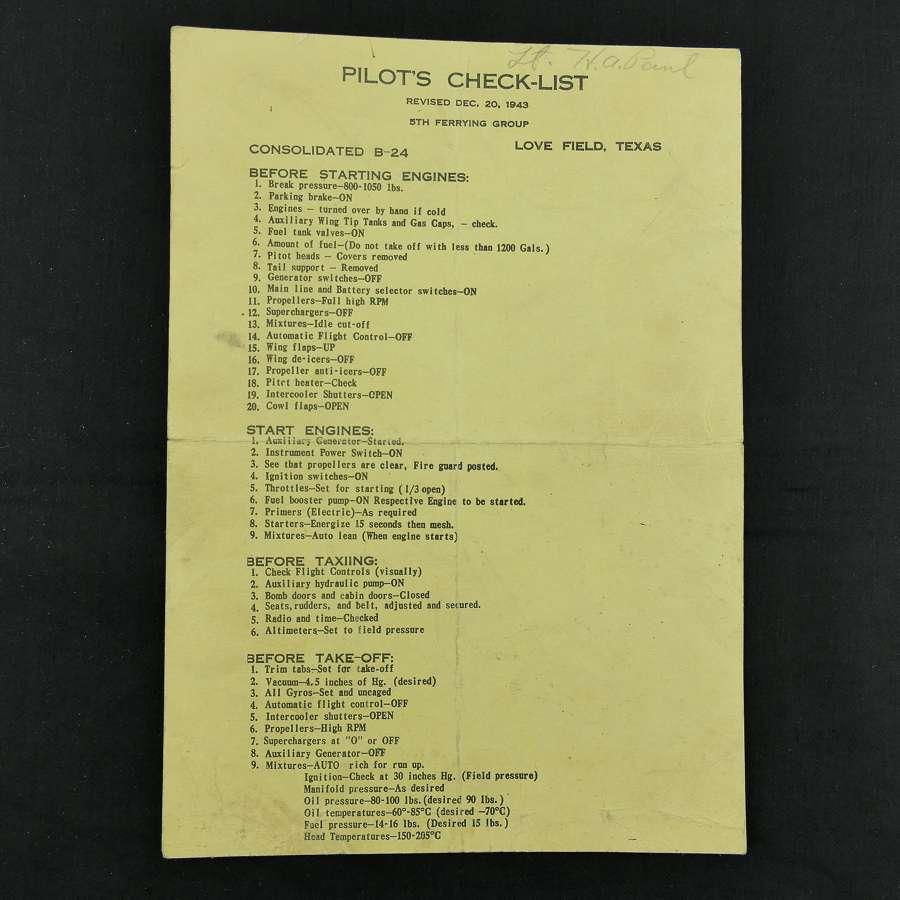 USAAF pilot's check list : B-24 Liberator
