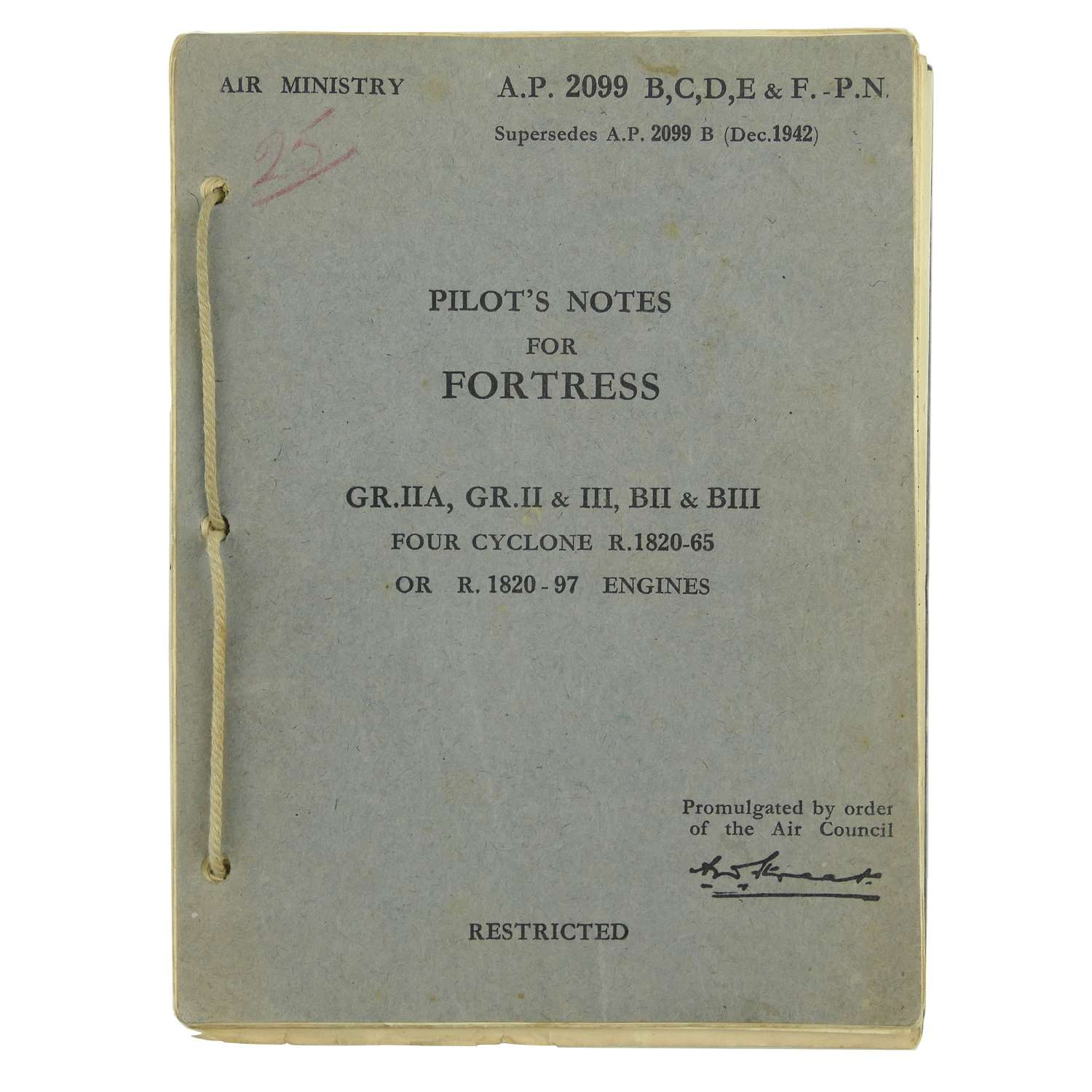 Air Ministry Pilot's Notes - Flying Fortress