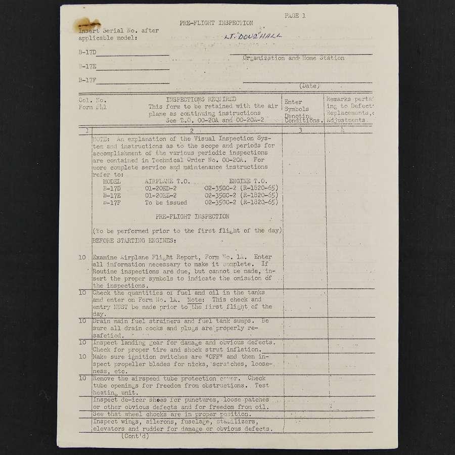 USAAF B-17 pre-flight inspection sheets