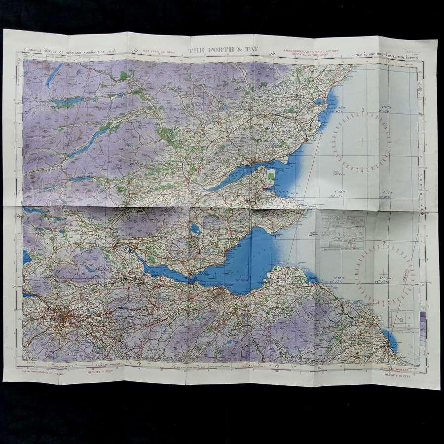 RAF flight map, Scotland - The Forth & Tay