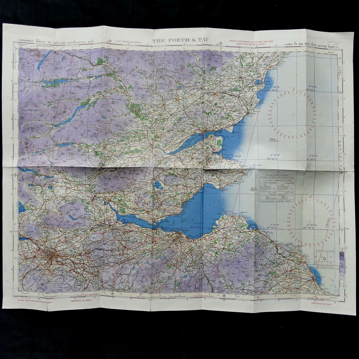 RAF flight map, Scotland - The Forth & Tay