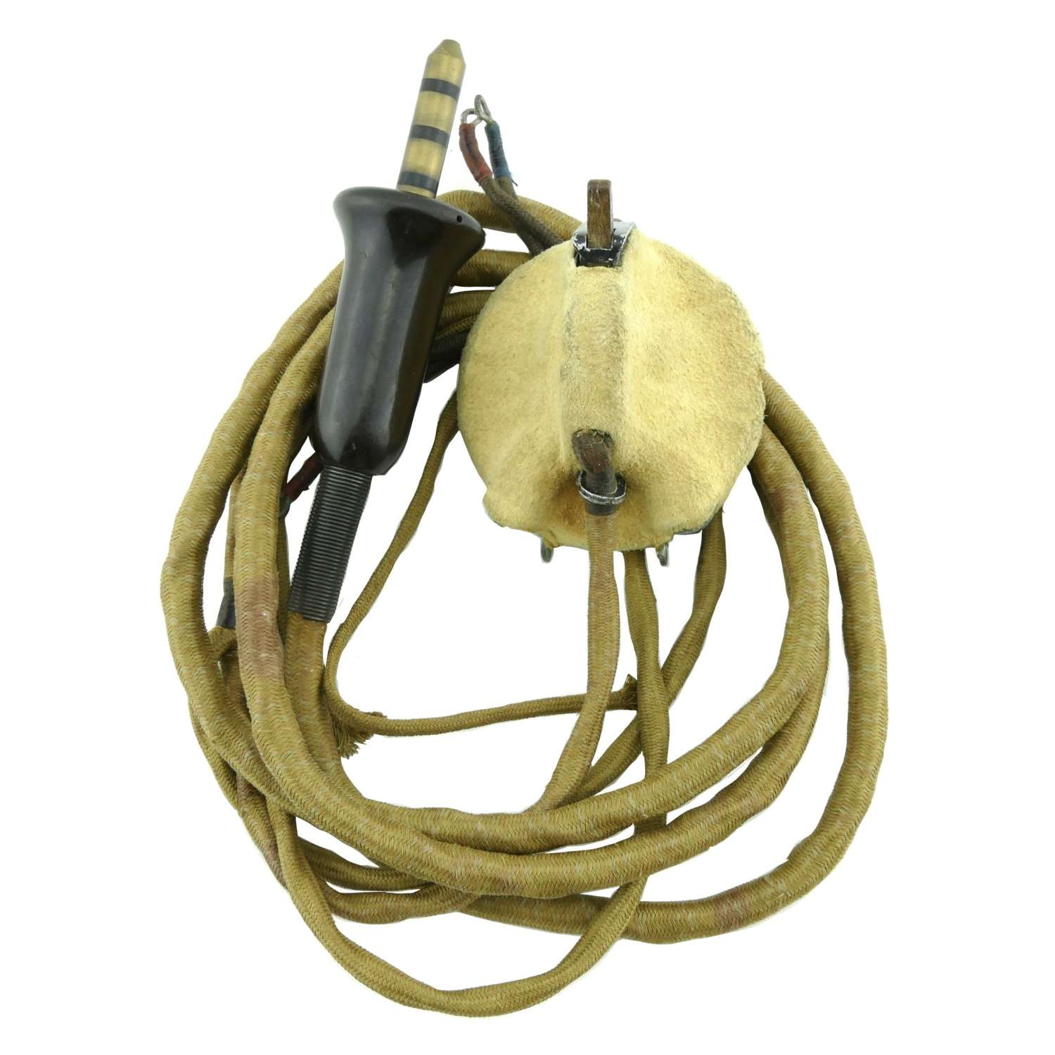 RAF flying helmet external wiring loom with type C microphone