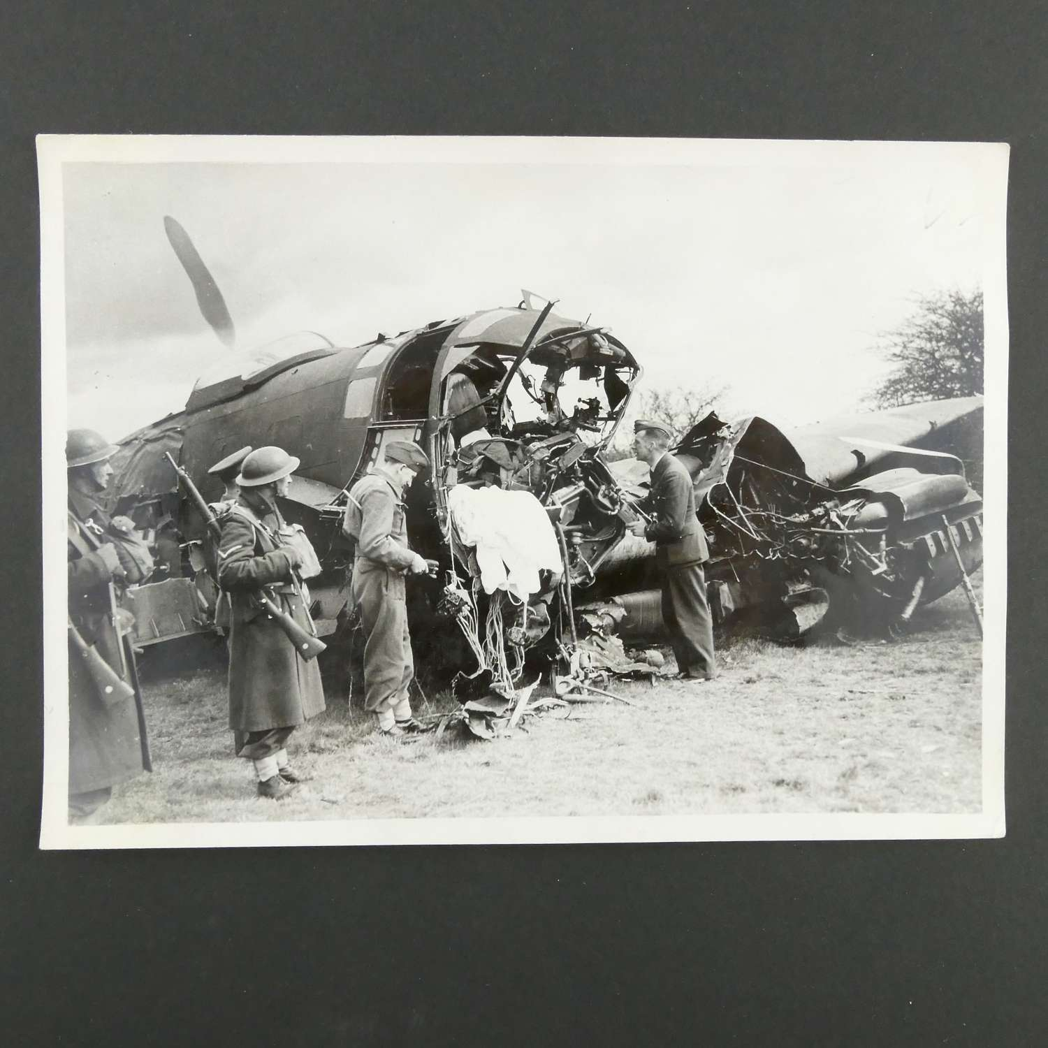 Press photograph - He111 shot down over Britain
