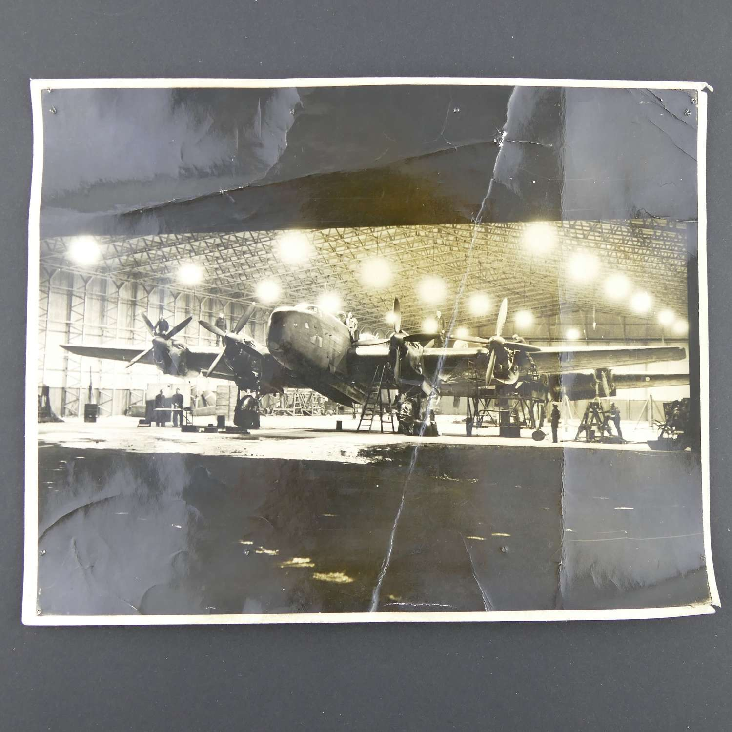 Air Ministry Photograph - Servicing RAF bombers at night