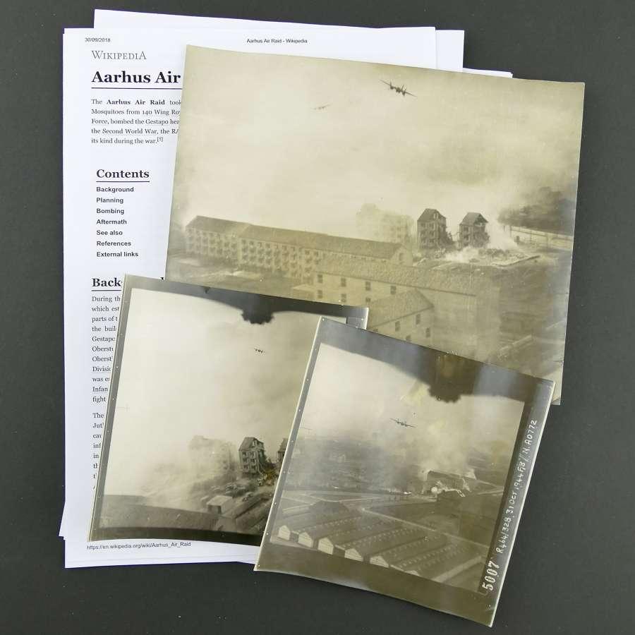 RAF raid photographs - Gestapo Headquarters, Aarhus, Denmark