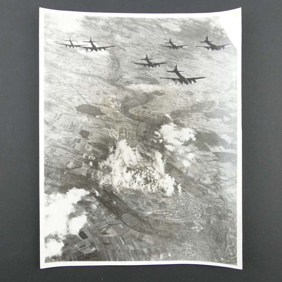 US official photograph - 8th AAF B-17 bomb Nazi fighter base