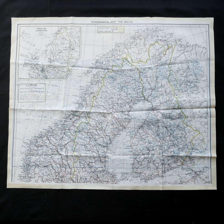 RAF escape & evasion Map - Scandinavia & The Baltic