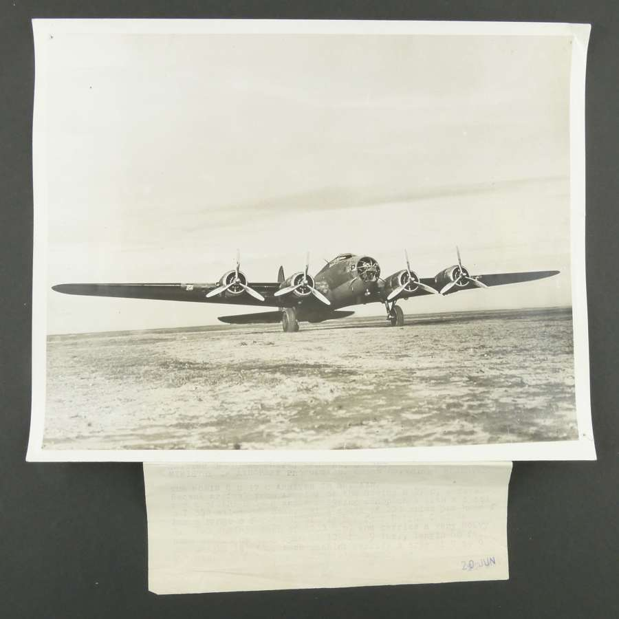 British official photograph - B-17 arrives in Britain