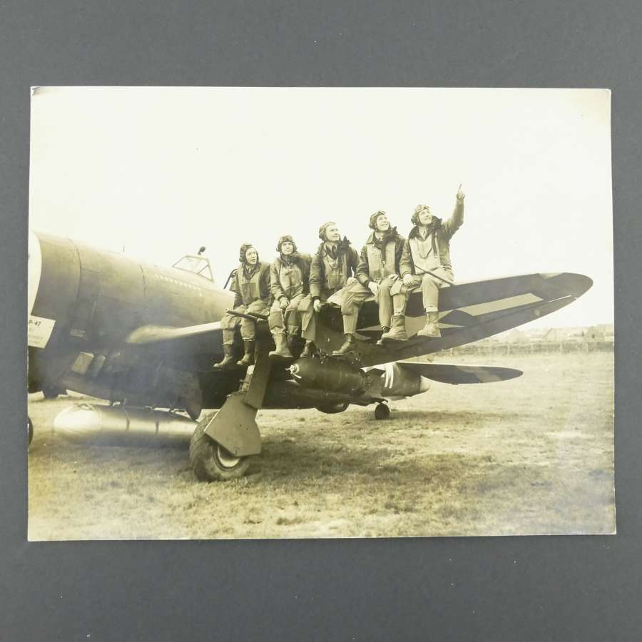 Press photograph - USAAF pilots of 9th Fighter Command, England